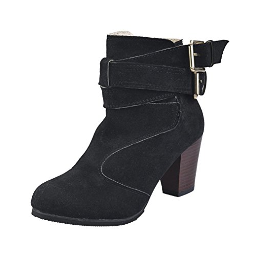 Stiefeletten Damen Winter Btruely High Heels Martin Schuhe Herbst Schuhe Mode Mädchen Dicke Stiefel Warme Schuhe Slouchy Stiefel (37, Schwarz) (Slouchy-stiefel)