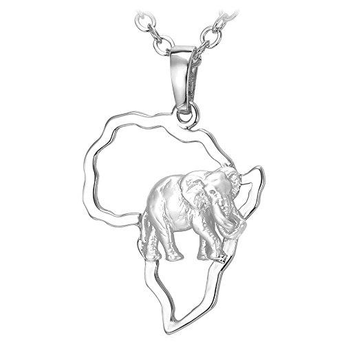 U7 Collar Hombre de Colgante Mapa de África con Elefantes Chapado en...