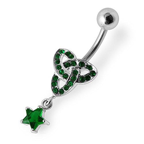 Barres de Pierre en cristal décoration celtique Mini branchée Triple 925 en argent Sterling avec le ventre en acier inoxydable Dark Green