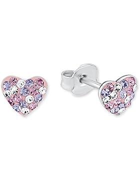 Prinzessin Lillifee Kinder-Ohrstecker Herzen 925 Silber Kristall rosa lila