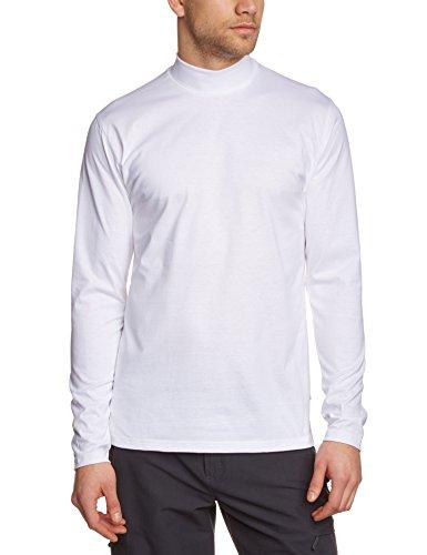 Trigema Herren Langarmshirt Stehkragen, Einfarbig Weiß (weiss 001)