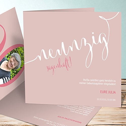 Geburtstagskarte online gestalten, Sagenhafte Neunzig 100 Karten, Quadratische Klappkarte 145x145 inkl. weiße Umschläge, Rot