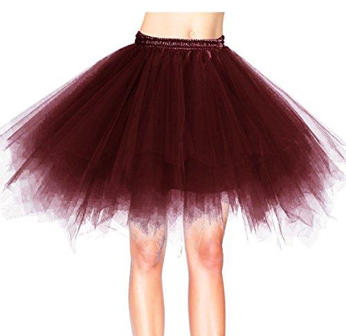 Dresstells Damen Tüllrock 50er Rockabilly Petticoat Tutu Unterrock Kurz Ballett Tanzkleid Ballkleid Abendkleid Gelegenheit Zubehör Burgundy ()
