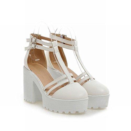 Mee Shoes Damen süß chunky heels Plateau T-Strap Sandalen Weiß