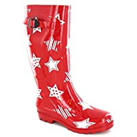 Spot On Womens/Ladies Rubber Star Print Wellington Boots (7 UK) (Red)
