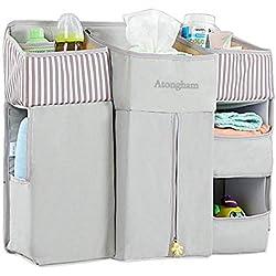 Atongham Organizador de pañales para colgar en la mesa de cambiador de cuna de bebé, coche, pared, bolsa de almacenamiento grande, organizador de guardería, organizador de cuna gris