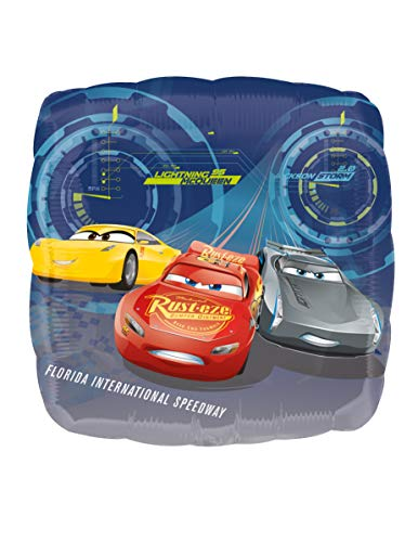 amscan 3536401 - Globo cuadrado con diseño de Disney Cars 3 Lighning McQueen