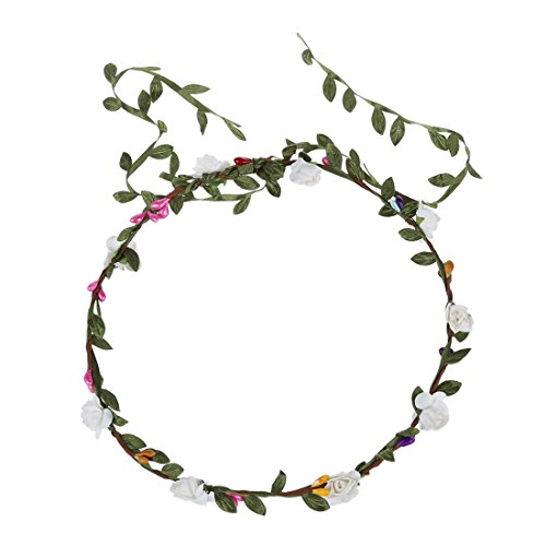 TOOGOO(R)Guirlande Florale Fille Femme Fete Mariage Boho Bande de Cheveux Blanc