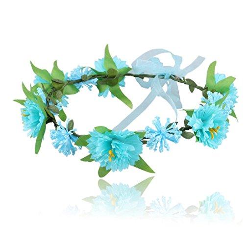kingko® Baby Kinder handgefertigte Blume Stirnband Headband Kranz Kopfschmuck Blau