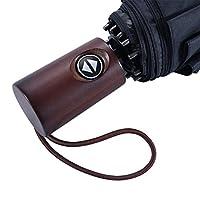 Windproof Travel Compact Umbrella Auto Open Close, Durable Structure UV Protection (Black-W)