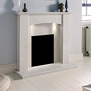 "White Marble Stone Curved Modern Surround Gas Wall Fireplace Suite with Downlights - 1"" rebate"