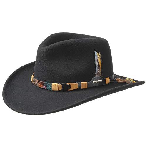 Stetson Chapeau Kingsley VitaFelt plumes dŽindien faire du cheval facon western (S (54-55 cm) - noir)