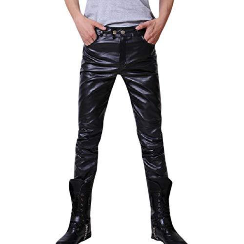 Fascino-M』Herren Slim Fit Soft PU Faux Leder Biker Hose Schwarze Skinny Lederhosen Winter Dicke Stretch Herren Business Lederjeans (Hosen Faux-leder-dünne)