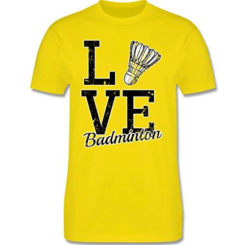 Shirtracer Sonstige Sportarten - Love Badminton - Herren T-Shirt Rundhals Lemon Gelb