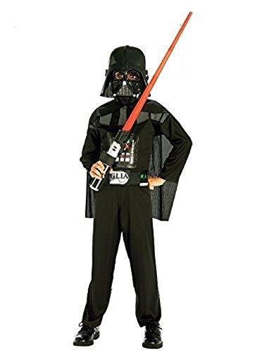 Taglia 9° - 5-6 anni - Costume - Travestimento - Carnevale - Halloween - Guerriero - Nero - Darth Vader - Star Wars - Colore Nero - Completo - Spada Inclusa - Bambino