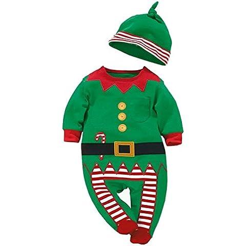 AHATECH Infant Neonata Ragazze Dei Ragazzi Bambini Bambino Caldi Santa Babbo Natale Manica Lunga Pagliaccetto Costume Vestito Cappello