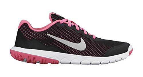 Nike Flex Experience 4 (Gs), Chaussures de course mixte enfant Noir / Plateado / Rosa (Black / Metallic Silver-Pink Pow)