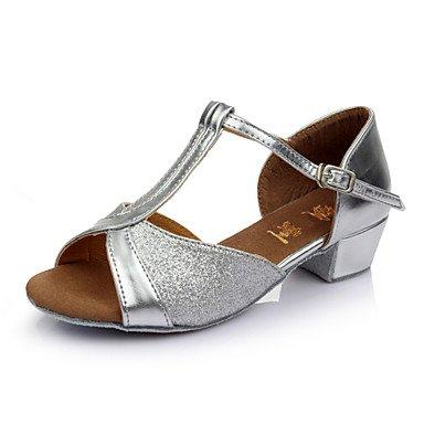 Silence @ pour femme Girl 'enfants' Chaussures de danse latine/Salsa/Samba/piste de danse satiné/Sparkling Talon de 3.5cm (Plus de couleur) doré