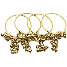 Swara's Bangles/Kadas in Silver, Golden, Metallic Black Colors with Beautiful latkan for Women & Girls(Set of 4)(084)