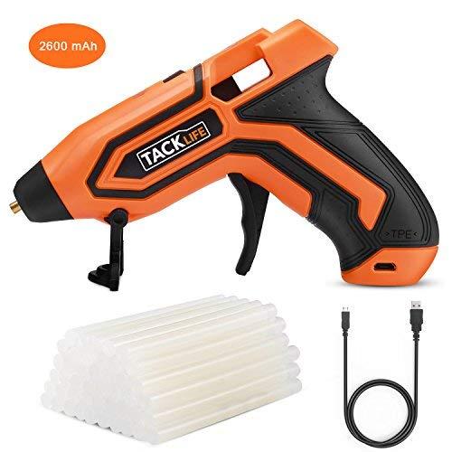 Heißklebepistole, Tacklife PGG01B kabellose Klebepistole mit 3,6V Lithium-Batterie, 45 Stück Klebestifte (7x100mm), Flexibler Auslöser, Überhitzungsschutz und schnelles Aufheizen mit Temperatur- und Batterieanzeigen
