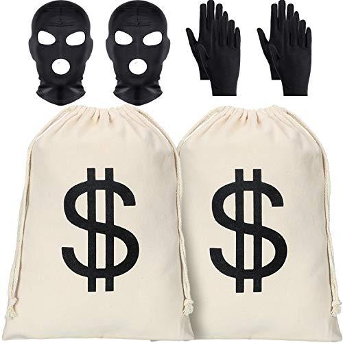 Paar Kostüm Räuber - 2 Stücke Halloween Dollarzeichen Geldsäcke Canvas Taschen mit 2 Stücke Schwarzen Gesichtsmasken und 2 Paar Handschuhen für Cosplay Kostüm Halloween Party Lieferungen