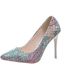 Liquidación! Tacones de mujer Covermason Moda tacones finos Zapatos colores mezclados Tacones bajos Zapatos(35 EU, Azul)