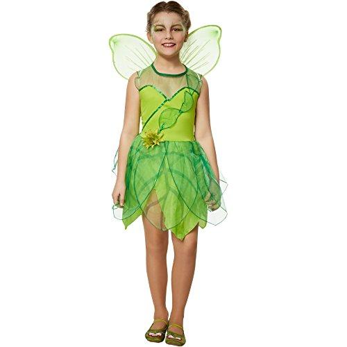 dressforfun 900345 - Mädchenkostüm Waldfee, Kleid mit angenähten Tüllelementen in Blätterform, Rock ebenfalls in Blätterform (152 | Nr. 301714)