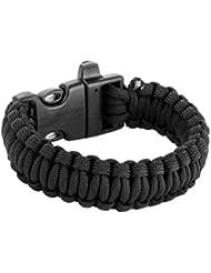 23cm Bracelet Paracord Bracelet de Survie Corde de Parachute avec Boucle Plastique - Noir