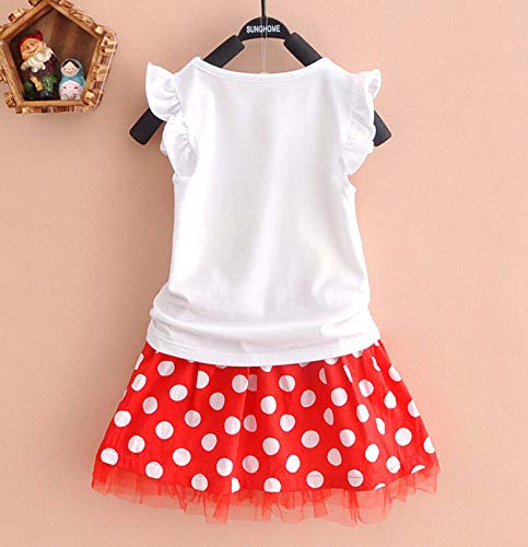 Bold N Elegant Red and White Polka Dot Minnie Mouse Ruffle Sleeve Top and Tutu Skirt Cinderella Princess Pageant Birthday Tulle Dress for Baby Toddler Girls (3-6 Months)