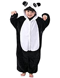 Kigurumi Mameluco Pijama con Capucha para Niños - Traje Disfraz Infantil de Animal para Otoño, Invierno Panda Negro 3-5 años