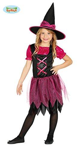schwarz pinke Hexe Hexenkostüm für Mädchen Gr. 98-146, Größe:128/134 (Zauberin Kostüm Mädchen)