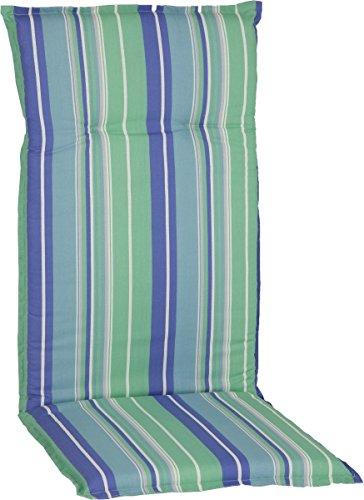 Beo Sitzkissen Gartenstuhlauflage Hochlehner Serie Barcelona M802 Streifen blau/grün 118 cm x Breite 50 cm x Dicke ca. 6 cm - Grüne Dicke Streifen