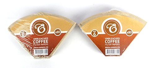 EDESIA ESPRESS - Pack de 160 filtros de papel para café - Tipo cono - sin blanquear - Tamaño 6