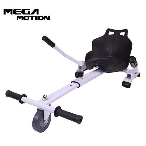 "Mega Motion Hoverkart Sitzscooter Go Kart Kartsitz Elektrokart Hoverseat für Hoverboard Self Balance Scooter 6.5\"", 8\"", 10\"" mit langlebigem PU-Rad Sicherer für Kinder - Alle Altersgruppen (weiß)"