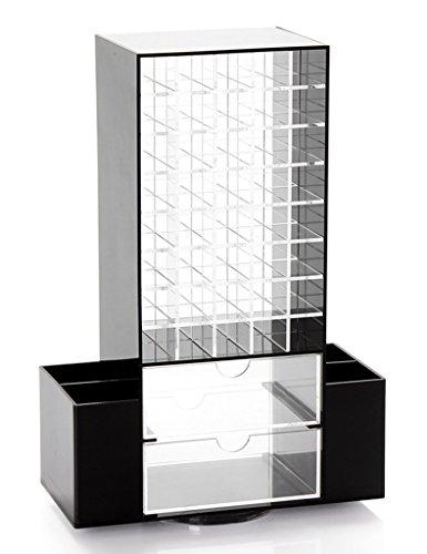 HWF étui cosmétique Black Rotatable Lipstick Rack Cosmetic Pen Boîte de rangement Makeup Storage Multifonctionnel Cosmetic Storage Box Organisateur