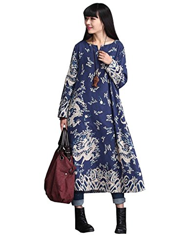 MatchLife Femme Printed Dragon Robe Style2-Bleu Marin