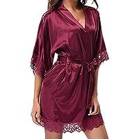 Amlaiworld Lencería Erotica Mujer Ropa de Noche de Encaje Sexy para Mujer Dama de satén Ropa de Dormir Lencería Pijamas Traje Kimonos Bata