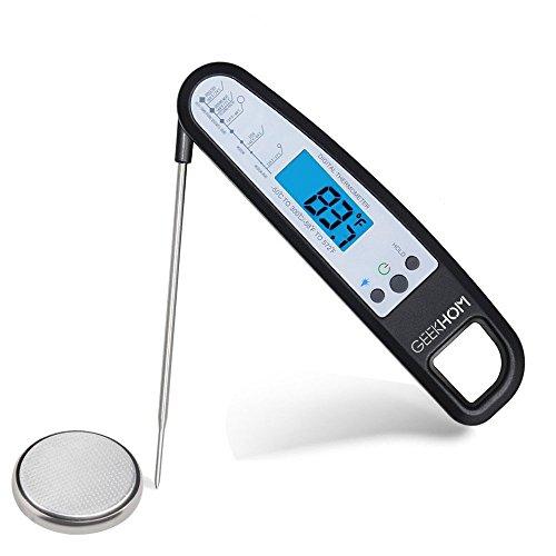 Digital Haushaltsthermometer, GEEKHOM Upgrade Ultra Fast Electronic Lebensmittel und Fleisch Thermometer mit Magnet Kühlschrank Aufsatz für Küchen, BBQ ,Steak, Braten, Lebensmittel (schwarz)