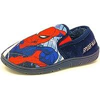 Kids Older Childrens Slip On Red Bue Spiderman Slippers Boys Mules Size 8-2
