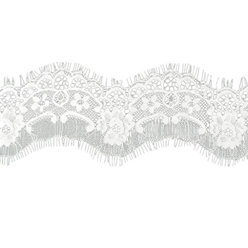 perfk Elastische Spitze Trim Spitzenband Spitzenbordüre - Weiß, 6.5cm*290cm -