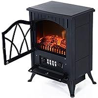 Homcom Chimenea Eléctrica Móvil tipo Estufa de Pie con Efecto de Leña Ardiendo Calefactor 900W/1800W 41.5x28x54cm Color Negro