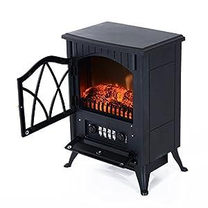 HOMCOM Chimenea Eléctrica Móvil Tipo Estufa de Pie con Efecto de Leña Ardiendo Calefactor 1000W/2000W 45x28x54cm Color…