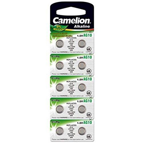 10 Stk. (1 Blister) Camelion 0%HG Alkaline 1,5V Knopfzellen Uhren-Batterien AG10, 189, 389, SR1130, LR1130, SR1131, LR1131