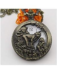 TKHCOLDM Retro Flip 12 Zodiac Openwork Carved Pocket Watch Student Old Digital Necklace Old Man Quartz Watch, Zodiac (Monkey) + Gift Box