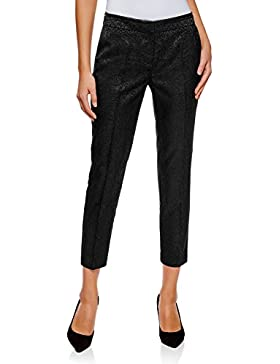 oodji Collection Donna Pantaloni di Jacquard con Piega