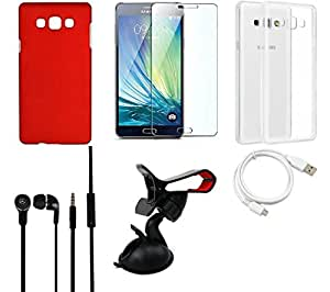 NIROSHA Tempered Glass Screen Guard Cover Case Headphone USB Cable Mobile Holder car for Samsung Galaxy ON7 - Combo