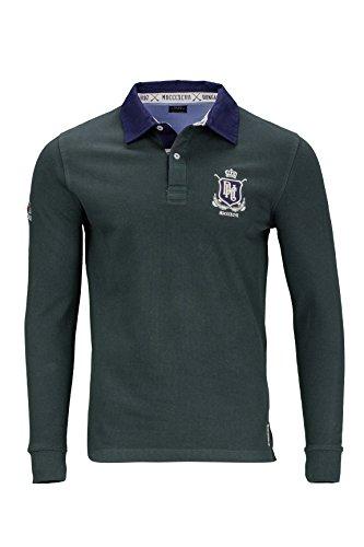 Kitaro Herren Shirt Langarm-Poloshirt College Sonderprogramm, Farbe: Dunkelgruen, Größe: XXL (College-rugby-shirt)