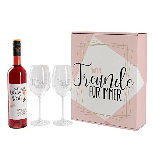 Leonardo Lieblingswein Geschenkset für die beste Freundin mit Namensgravur auf Weingläsern in einzigartigem Geschenkkarton