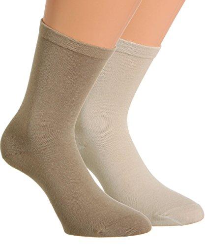 Vitasox 31121 Herren Socken Extra weit Gesundheitssocken Sensibel ohne Gummi 6er Pack Natur-Töne 39/42