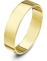 Theia Unisex 9 ct Yellow or White Gold, Heavy Flat Shape, Polished, 3-8 mm Wedding Ring